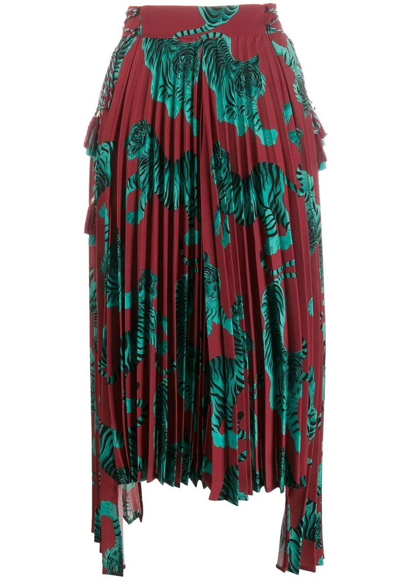 Just Cavalli tiger print pleated skirt