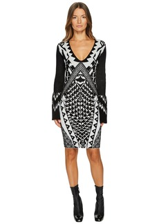 Just Cavalli Tribal Knit Long Sleeve Dress