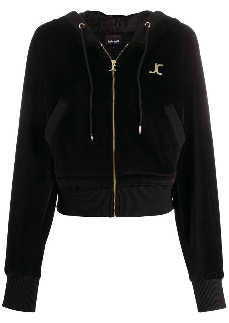 Just Cavalli velour logo plaque bomber jacket