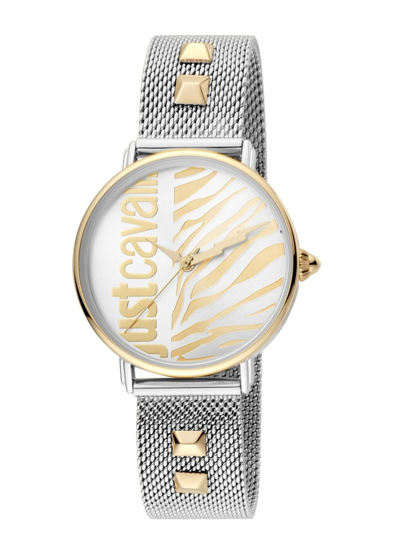 Just Cavalli Women's Animal Studded Mesh Strap Watch, 32mm