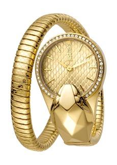 Just Cavalli Women's Glam Chic Snake Texture Dial Bracelet Watch, 26mm