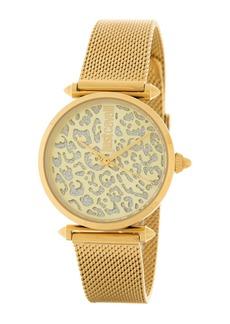 Just Cavalli Women's Leopard Detail Mesh Strap Watch, 32mm