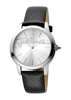Just Cavalli Women's Logo Embossed Leather Strap Watch, 36mm