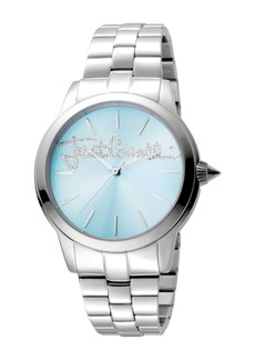 Just Cavalli Women's Logo Mohair Crystal Accented Bracelet Watch, 36mm