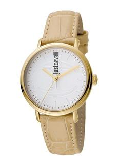 Just Cavalli Women's Quartz Embossed Leather Strap Watch, 34mm