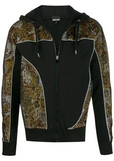 Just Cavalli zipped leopard print detailed hoodie