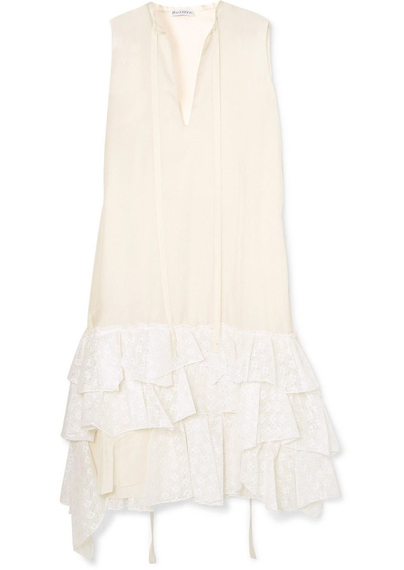 44124789a606f JW Anderson Asymmetric Ruffled Crepe De Chine And Broderie Anglaise Cotton  Dress