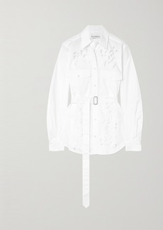 JW Anderson Belted Broderie Anglaise Cotton-poplin Shirt