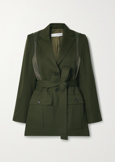 JW Anderson Belted Patchwork Wool And Twill Jacket