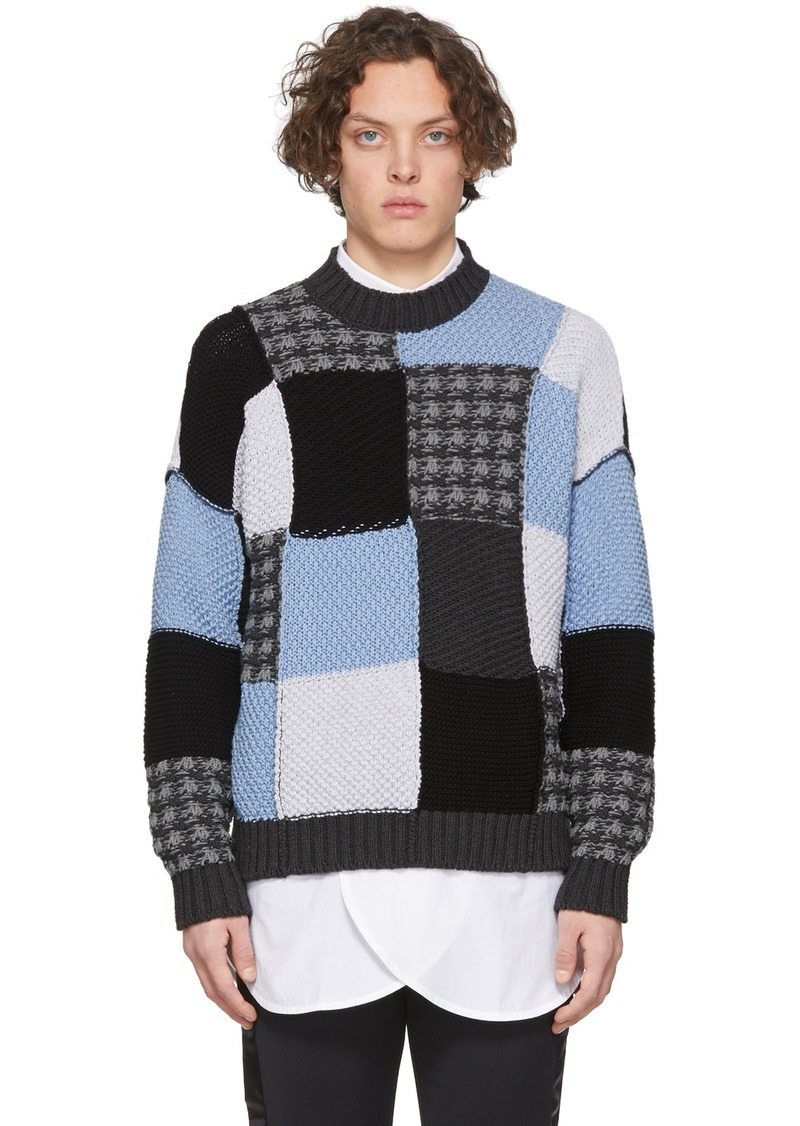 JW Anderson Blue & Grey Patchwork Sweater