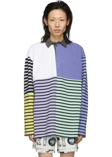 JW Anderson Blue Patchwork Rugby Polo
