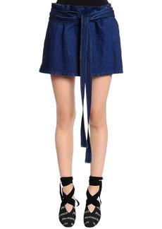 JW Anderson Cotton Denim Skirt W/ Leather Pocket