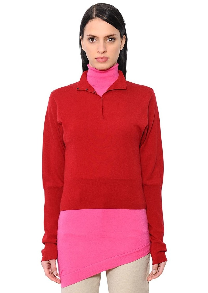 JW Anderson Double Layer Merino Wool Knit Shirt