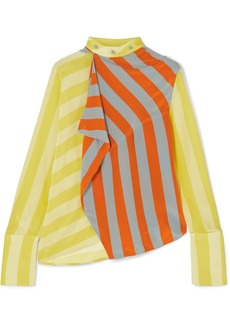 JW Anderson Draped Striped Silk Crepe De Chine Top