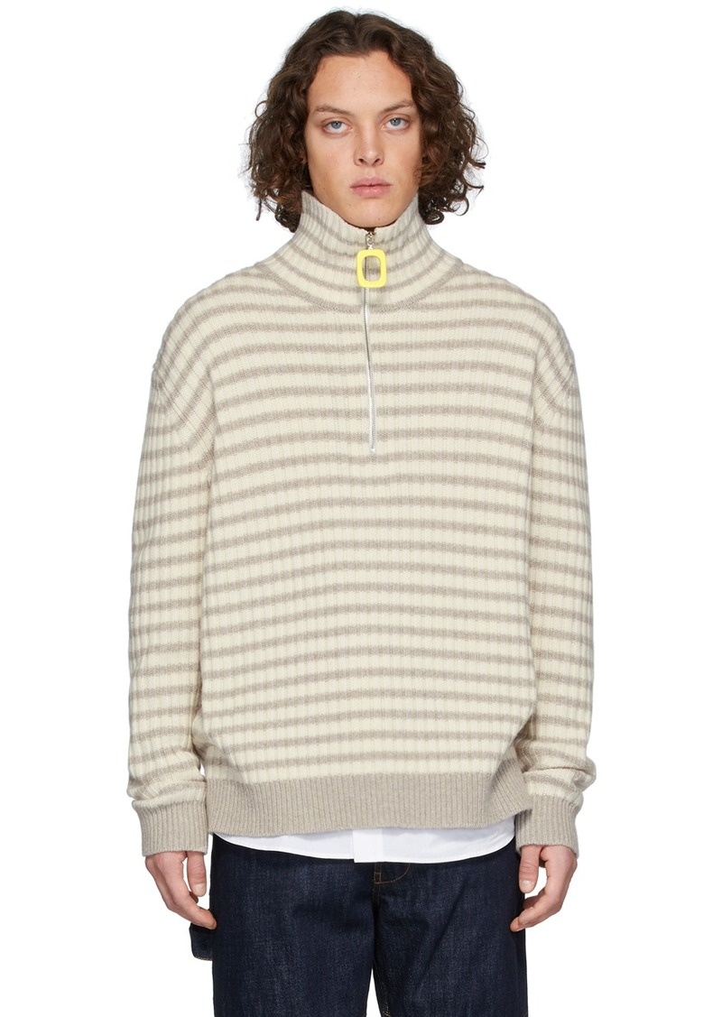JW Anderson Grey & Off-White Striped Neckband Sweater
