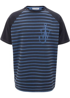 JW Anderson indigo JWA anchor and stripes short sleeve raglan t-shirt