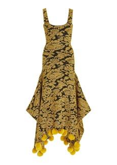 JW Anderson - Women's Pom Pom-Trimmed Metallic Jacquard Maxi Dress - Black - Moda Operandi