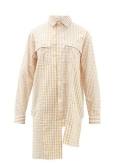 JW Anderson Asymmetric gingham cotton-poplin shirt