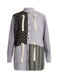 JW Anderson Contrast-print striped cotton-gauze shirt
