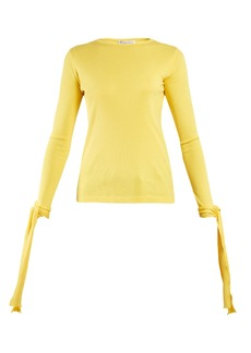 JW Anderson Cuff-tie ribbed-jersey cotton top
