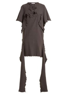 JW Anderson Cut-out distressed cotton-jersey dress