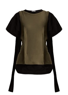 JW Anderson Double layer cotton-jersey drape-back top