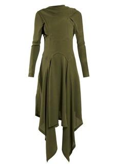 JW Anderson Draped asymmetric high-neck silk dress