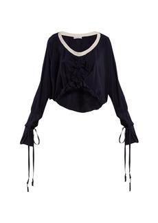 JW Anderson Florette-embellished tie-cuff silk top