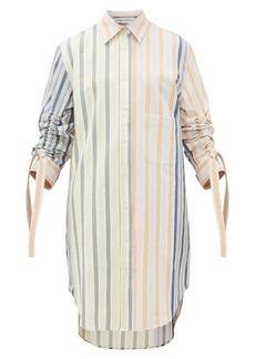 JW Anderson Gathered-sleeve striped cotton-drill shirtdress
