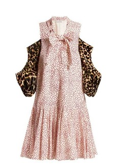 JW Anderson Leopard-print sleeve polka-dot dress