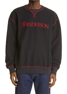 JW Anderson Logo Embroidered Inside Out Sweatshirt