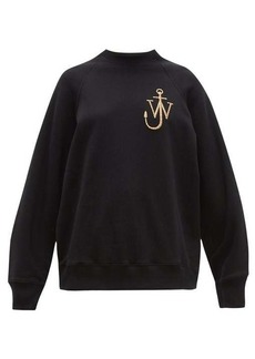 JW Anderson Logo-embroidered split-sleeved cotton sweatshirt
