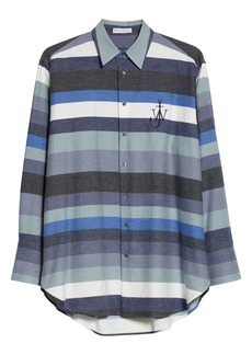 JW Anderson Logo Stripe Oversize Flannel Shirt