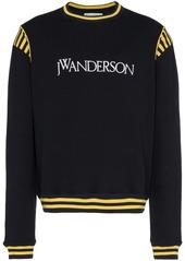 JW Anderson navy logo embroidered stripe cotton sweatshirt