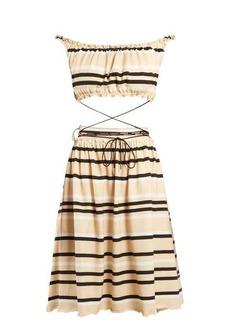 JW Anderson Off-the-shoulder striped cotton dress