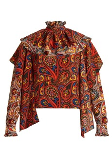 JW Anderson Paisley-print ruffle-trim silk blouse
