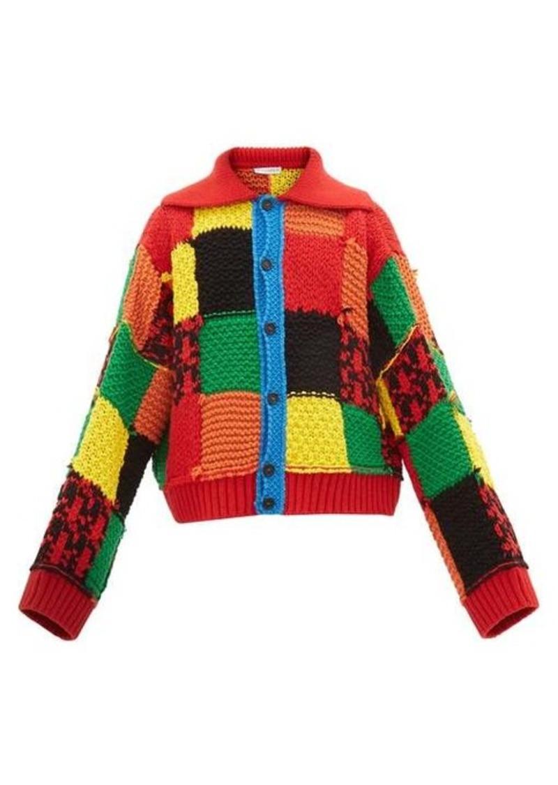 JW Anderson Patchwork chunky-knit wool cardigan