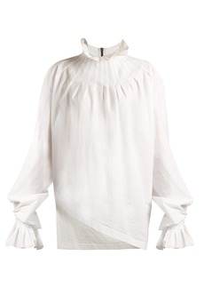 JW Anderson Pleated-neck cotton blouse