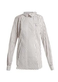 JW Anderson Pleated-panel striped-cotton shirt