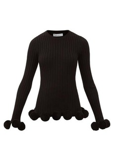 JW Anderson Pompom-embellished ribbed-wool sweater