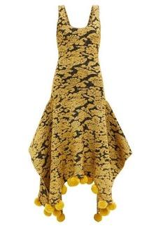 JW Anderson Pompom-trimmed floral-jacquard lamé dress