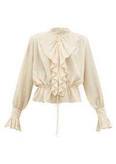 JW Anderson Ruffled funnel-neck cotton crepe blouse