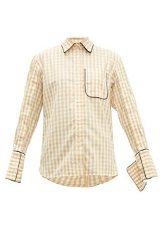 JW Anderson Scarf-collar gingham cotton shirt