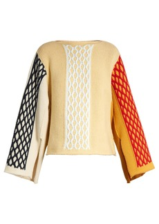JW Anderson Slit-sleeve cable-knit wool-blend sweater