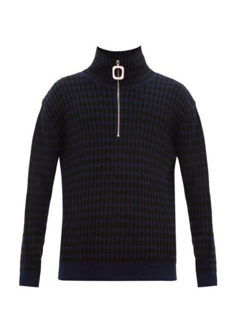 JW Anderson Striped quarter-zip wool-blend sweater