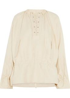 Jw Anderson Woman Lace-up Canvas Tunic Beige