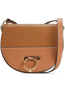 Jw Anderson Woman Latch Smooth And Textured-leather Shoulder Bag Camel