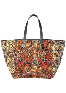 Jw Anderson Woman Leather-trimmed Buckle-embellished Printed Shell Tote Tomato Red