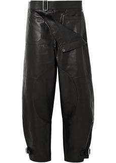 Jw Anderson Woman Leather Wide-leg Pants Black