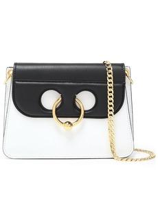 Jw Anderson Woman Pierce Mini Two-tone Leather Shoulder Bag White